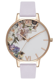 Olivia Burton Enchanted Garden Big Dial Watch - Violet & Rose Gold