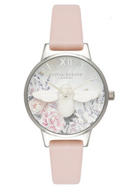 Olivia Burton Glasshouse Midi Bee Watch - Nude Peach & Silver