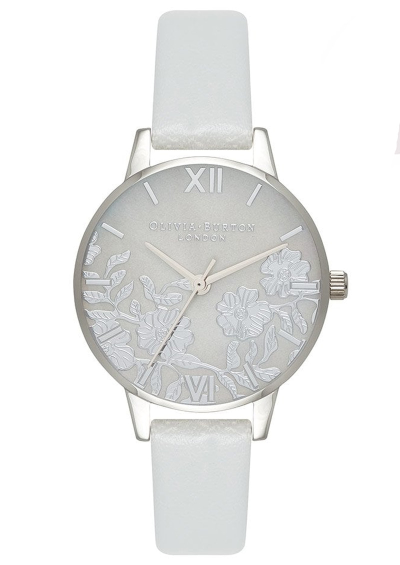 54daa9068f4b0 Lace Detail Mother Of Pearl Midi Watch - Light Grey   Silver main image