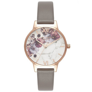 Marble Florals Midi Dial Watch - London Grey & Rose Gold