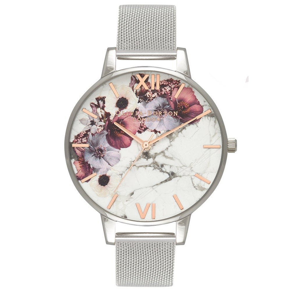 Marble Florals Big Dial Mesh Watch - Rose Gold & Silver