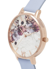 Olivia Burton Marble Florals Big Dial Watch - Chalk Blue & Rose Gold