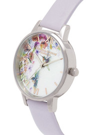 Olivia Burton Painterly Prints Midi Dial Watch - Parma Violet, Rose Gold & Silver