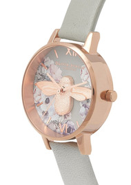 Olivia Burton Watercolour Florals Midi 3D Bee Watch - Grey & Rose Gold