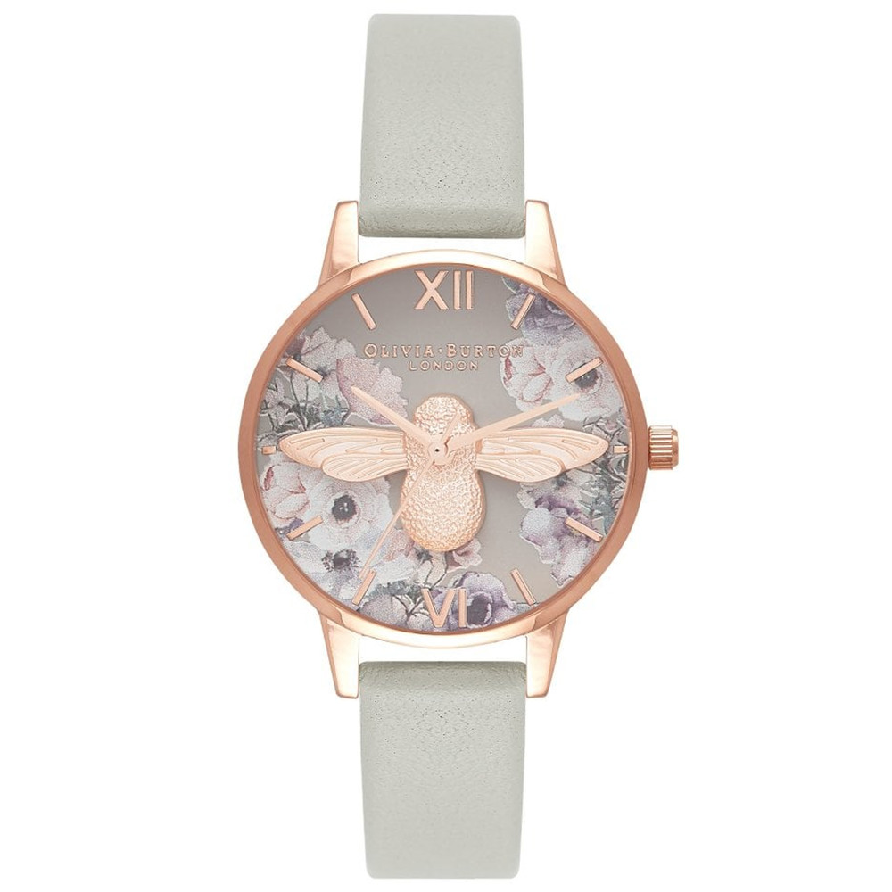 Watercolour Florals Midi 3D Bee Watch - Grey & Rose Gold