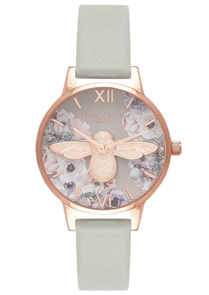 Olivia Burton Watercolour Florals Midi 3D Bee Watch - Grey & Rose Gold main image