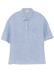 American Vintage Mukadance Linen Shirt - Blue Stripe