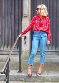 Pyrus Exclusive Annie Long Sleeve Blouse - Stars Red