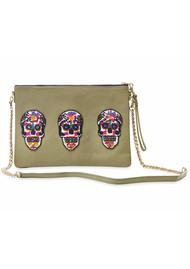 TEA & TEQUILA Sonora Sugar Skull Bag - Olive
