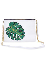 TEA & TEQUILA Colima Monstera Leaf Bag - White