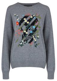 360 SWEATER Skull Cashmere Aji Embroidered Jumper - Heather Grey & Black