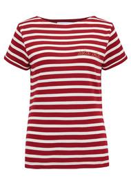 MAISON LABICHE Sailor Dolce Vita Short Sleeve Tee - Red & White