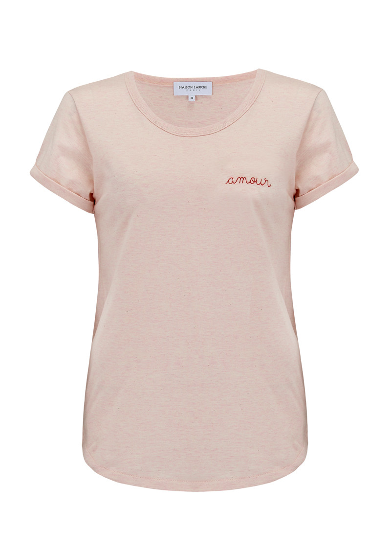 MAISON LABICHE Amour Tee - Heather Pink main image