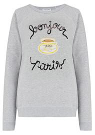 MAISON LABICHE Cafe Paillettes Sweater - Heather Grey