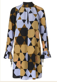 STINE GOYA Tara Silk Dress - Hexagons Amber