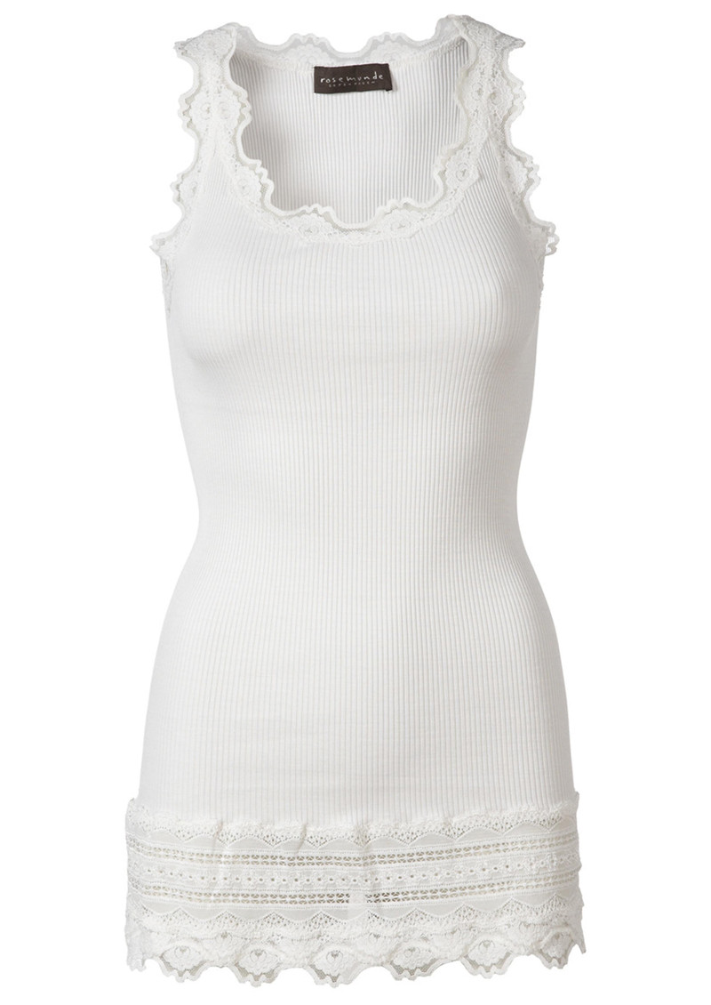 Wide Lace Silk Blend Vest - New White main image