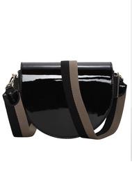 Liebeskind Mixed Patent Saddle Bag - Black