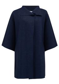 HARRIS WHARF Kimono Mantle - Blue Mouline