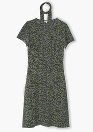 Lily and Lionel Lea Textured Silk Dress - Khaki Leopard