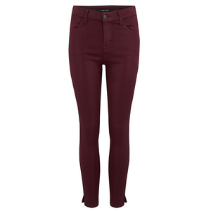 Alana High Rise Crop Coated Jeans - Oxblood