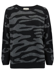 JUMPER 1234 Wild Striped Jumper - Black & Grey