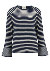 JUMPER 1234 Striped Trumpet Jumper - Navy & Oat