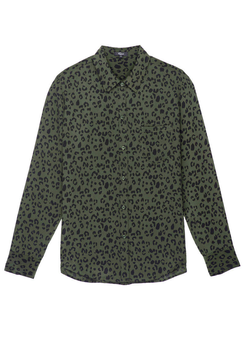 Rails Kate Silk Shirt - Olive Cheetah main image