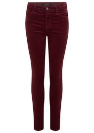 J Brand Maria High Rise Velvet Jeans - Oxblood