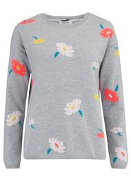 COCOA CASHMERE Floral Crew Neck Jumper - Grey