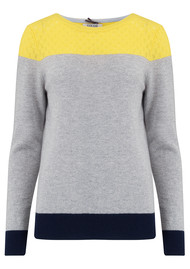 COCOA CASHMERE Lace Yoke Crew Jumper - Grey, Navy & Canary