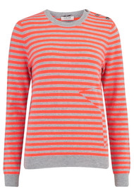 COCOA CASHMERE Stripe Crew Neck Jumper - Grey & Chilli