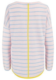 COCOA CASHMERE Stripe & Tipped Crew Jumper - Alabaster, Canary & Blue