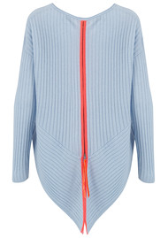 COCOA CASHMERE Zip Back Ribbed Jumper - Blue & Chilli