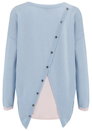 COCOA CASHMERE Colour Block Insert Pullover - Blue & Alabaster