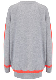 COCOA CASHMERE Tipped Crew Jumper - Grey & Chilli