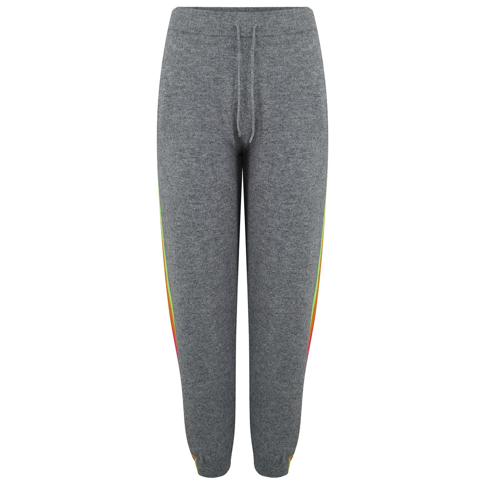 Mexican Side Stripe Cashmere Joggers - Mid Grey