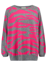 JUMPER 1234 Wild Striped Jumper - Neon Pink & Grey