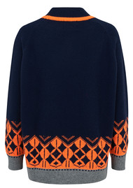 JUMPER 1234 Nordic Roll Collar Cashmere Jumper - Navy