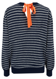JUMPER 1234 Striped Bow Back Cashmere Jumper - Navy & Grey