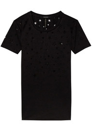 Maison Scotch Burn Out Star Tee - Black