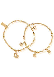 ChloBo Ariella Heart & Soul Set of 2 Bracelets - Gold