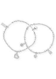 ChloBo Ariella Heart & Soul Set of 2 Bracelets - Silver