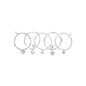 Ariella Stack of 5 Bracelets - Silver