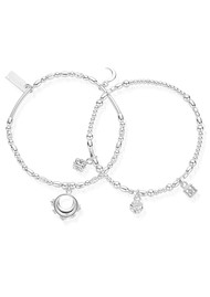 ChloBo Ariella Half Moon Set of 2 Bracelets - Silver
