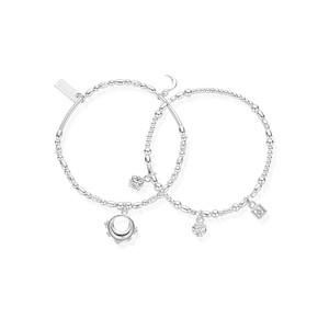 Ariella Half Moon Set of 2 Bracelets - Silver