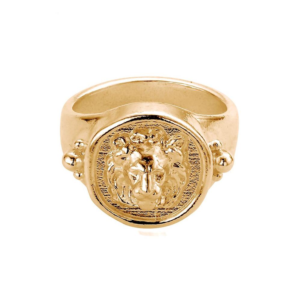 Ariella Lioness Signet Ring - Gold