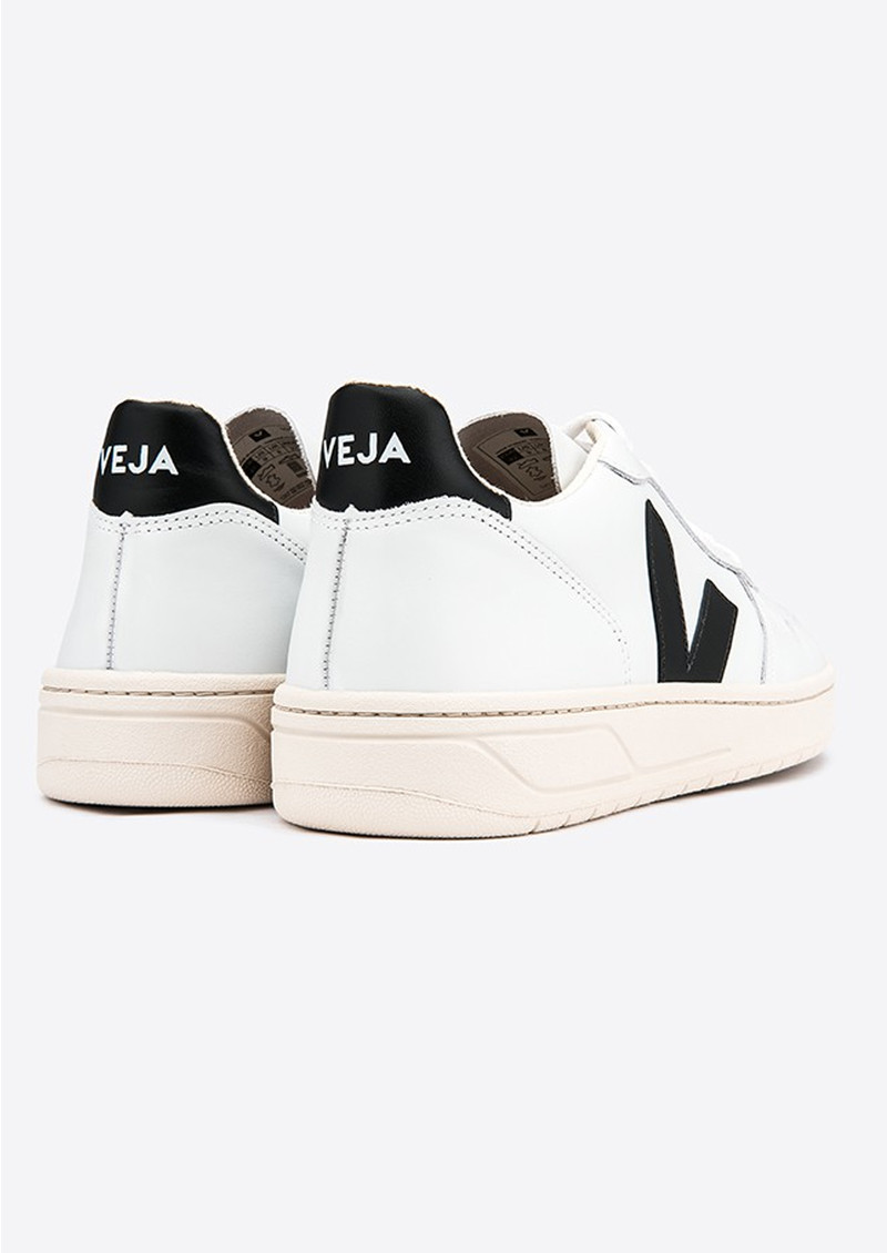 VEJA V-10 Leather Trainers - Extra White & Black main image