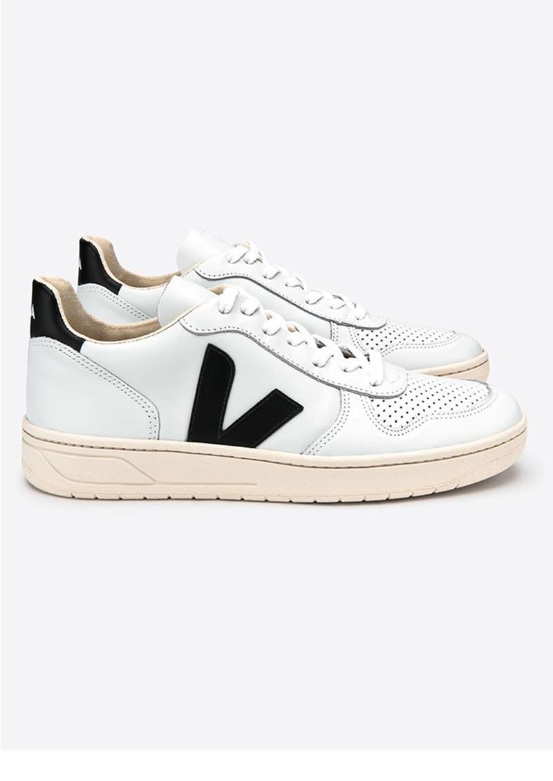 V 10 Leather Trainers   Extra White &Amp; Black by Veja