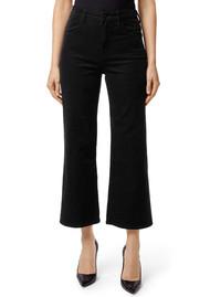 J Brand Joan High Rise Wide Leg Crop Corduroy Jeans - Black