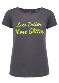 ON THE RISE Less Bitter More Glitter Tee - Dark Grey & Neon Yellow